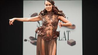 PARIS, FRANCE - OCTOBER 27:  Karine Lima walks the runway during the Chocolate fashion show as a part of the Salon Du Chocolat 2015 - Chocolate Fair at Parc des Expositions Porte de Versailles on October 27, 2015 in Paris, France.  (Photo by Kay-Paris Fernandes/WireImage)