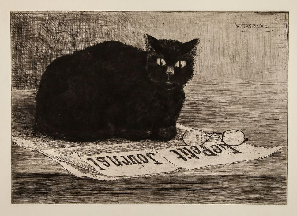 198. Guerard (Henri-Charles, 1846-1897) Chat noir sur un journal etching and drypoint, with plate tone, on thick laid paper w