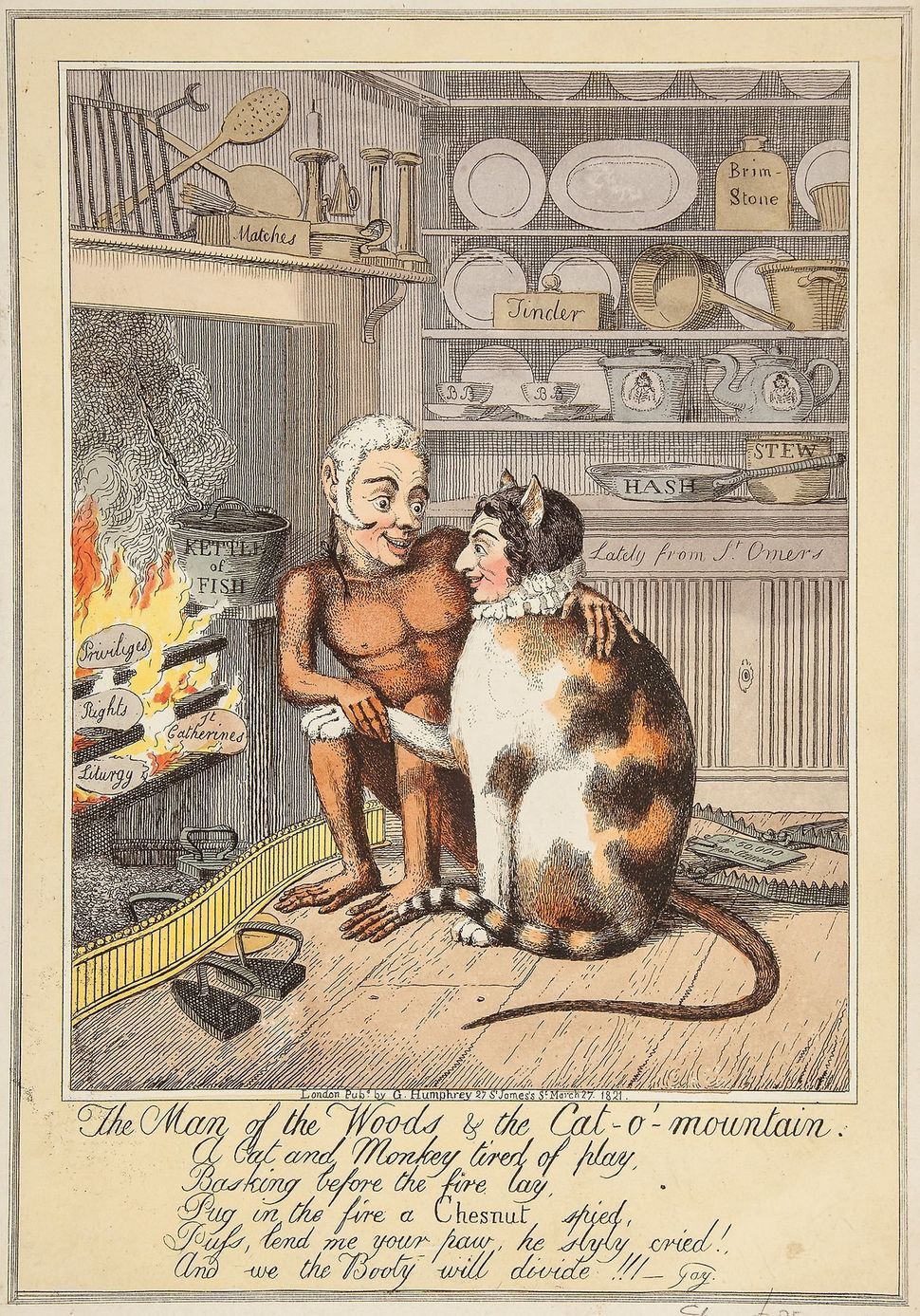 189. Lane (Theodore, 1800-1828) The man of the woods & the cat-o'mountain etching with hand-colouring, on wove pape
