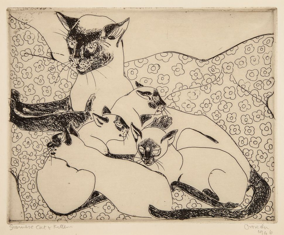 228. Pissarro (Orovida Camille, 1893-1968) Siame s e c at and kitten s drypoint, on cream laid paper, signed and dated 1946 i
