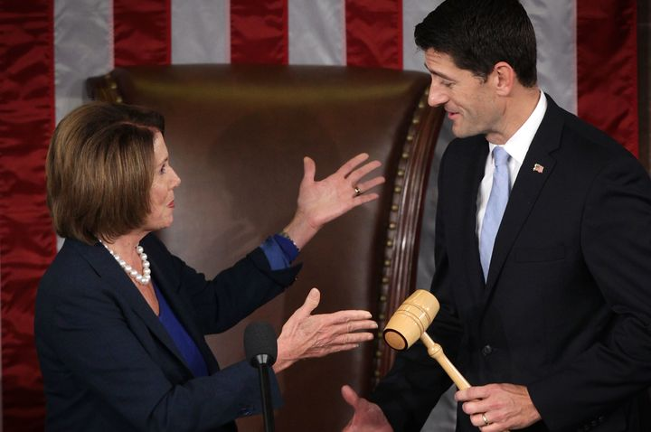 Pelosi hands Ryan the gavel she once wielded.