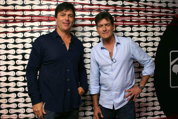 Zeile with Charlie Sheen in 2012.