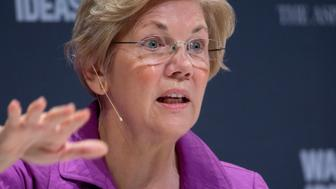 Senator Elizabeth Warren, a Democrat from Massachusetts, speaks during an interview at the Washington Ideas Forum in Washington, D.C., U.S., on Thursday, Oct. 1, 2015. Hosted by the Atlantic in partnership with the Aspen Institute, the forum identifies the year's most pressing issues and ideas of consequence covering the biggest newsmaking topics of the moment. Photographer: Andrew Harrer/Bloomberg via Getty Images