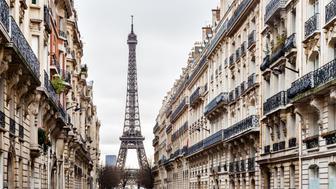 Eiffel Tower and Avenue d'Eylau - Paris, France.