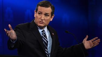 Republican Presidential hopeful  Ted Cruz  speaks during the CNBC Republican Presidential Debate, October 28, 2015 at the Coors Event Center at the University of Colorado in Boulder, Colorado. AFP PHOTO/ ROBYN BECK        (Photo credit should read ROBYN BECK/AFP/Getty Images)