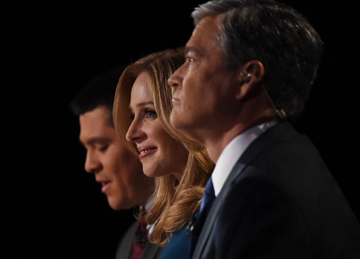 CNBC debate moderators Carl Quintanilla, Becky Quick and John Harwood