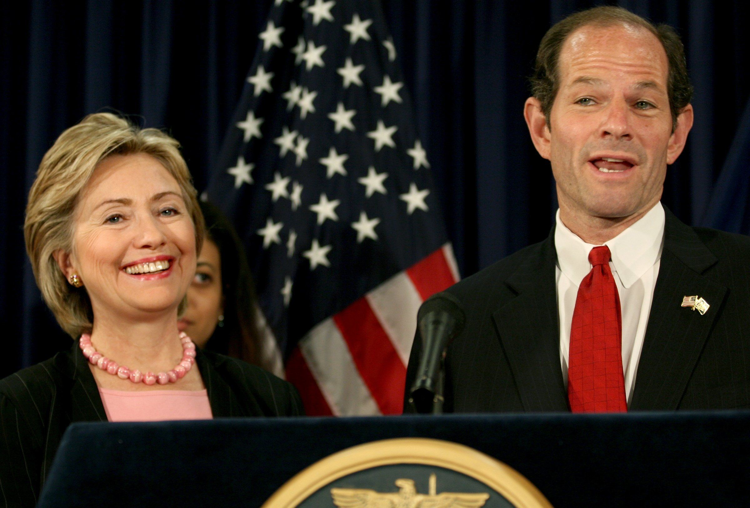 Then-Sen. Hillary Clinton (D-N.Y.) opposed the state's Democratic Gov. Eliot Spitzer on driver's licenses for undocumented im