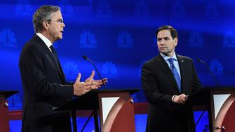 Republican presidential hopeful Jeb Bush (L) speaks as Marco Rubio looks on during the CNBC Republican Presidential Debate, October 28, 2015 at the Coors Event Center at the University of Colorado in Boulder, Colorado. AFP PHOTO / ROBYN BECK        (Photo credit should read ROBYN BECK/AFP/Getty Images)