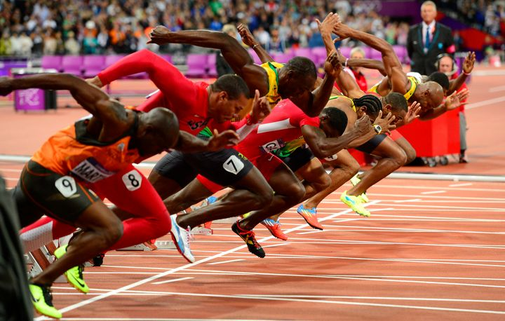 Runners at the starting line of the 2012 London Olympic Games 100-meter dash. A study found a time gap between 're