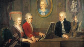 'AUSTRIA - JANUARY 01:  Leopold Mozart with his children Wolfgang and Nannerl at the piano, the portrait of their deceased mother on the wall.   Oil on Canvas by Johann Nepomuk Della Croce, around 1780.  (Photo by Imagno/Getty Images)'