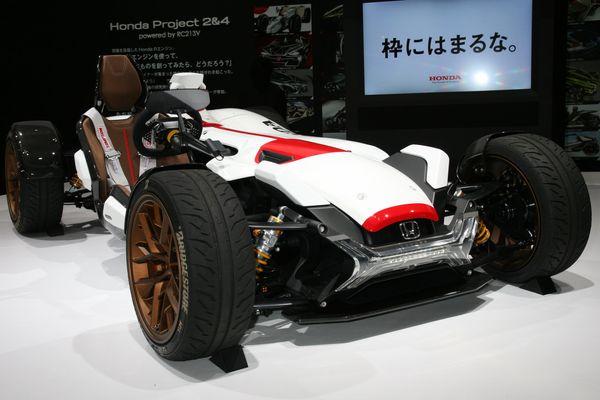 An experimental car with a 1960s Honda F1 motif.