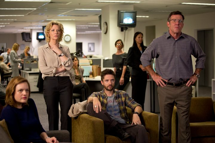 """Elisabeth Moss, Cate Blanchett, Topher Grace and Dennis Quaid star in a scene from """"Truth."""""""