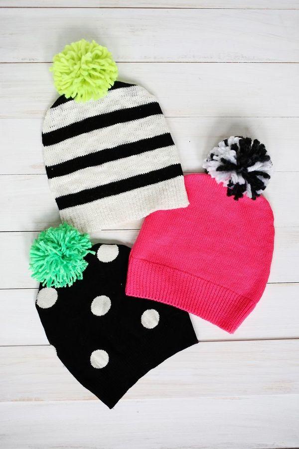 "<a href=""http://www.abeautifulmess.com/2014/11/have-a-sweater-make-a-pom-pom-hat.html"" target=""_blank"">Make a pom-pom hat out"
