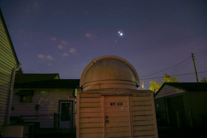 Venus shines the brightest of the three planets while it clusters close to Jupiter. Mars hangs faintly off to the s