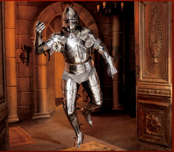 """<i>""""The suit of armor was bought by a couple for their adult son who traveled the country attending medieval fairs. Contempor"""