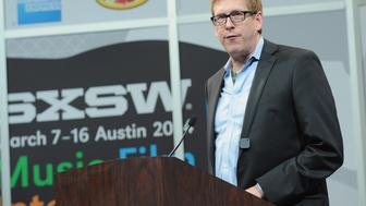 AUSTIN, TX - MARCH 11:  Hugh Forrest, SXSW Interactive's Director speaks onstage at Bruce Sterling Closing Remarks during the 2014 SXSW Music, Film + Interactive Festival at Austin Convention Center on March 11, 2014 in Austin, Texas.  (Photo by Jon Shapley/Getty Images for SXSW)