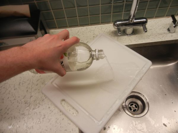 <strong>Method:</strong> Pour distilled white vinegar all over the cutting board before chopping the onion. <br><br><strong>R