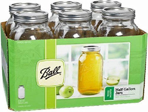 """<i><a href=""""http://www.amazon.com/Ball-Wide-Mouth-Gallon-Bands/dp/B0041SWYFQ"""" target=""""_blank"""">Ball Wide Mouth Half Gallon 64 Oz Jars with Lids and Bands, $24.20</a></i>"""