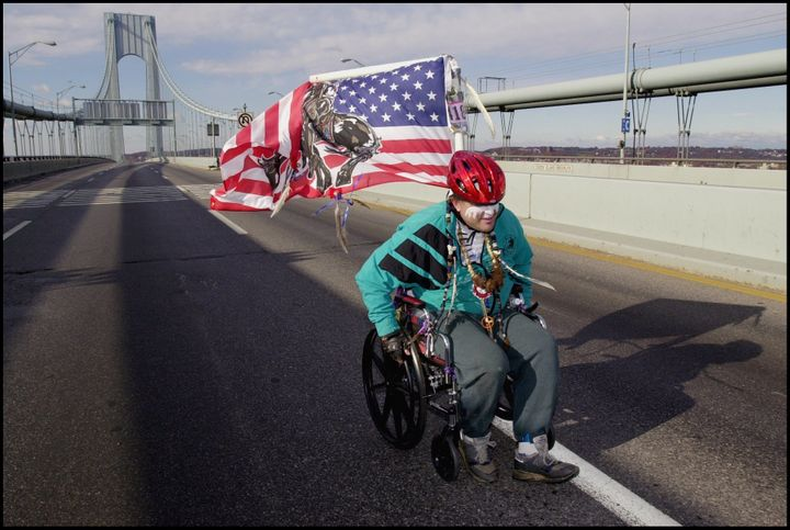 A New York City Marathon participant crosses the famed Verrazano-Narrows Bridge.