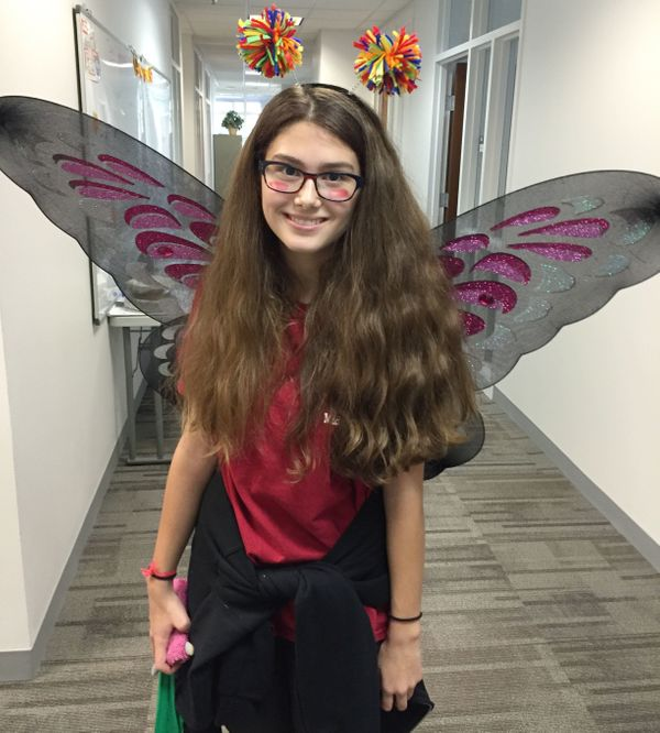 "Elena-Marie, who is from Austria, dressed as a butterfly.<br><br>""I really like America. It has a lot of opportunities and it"