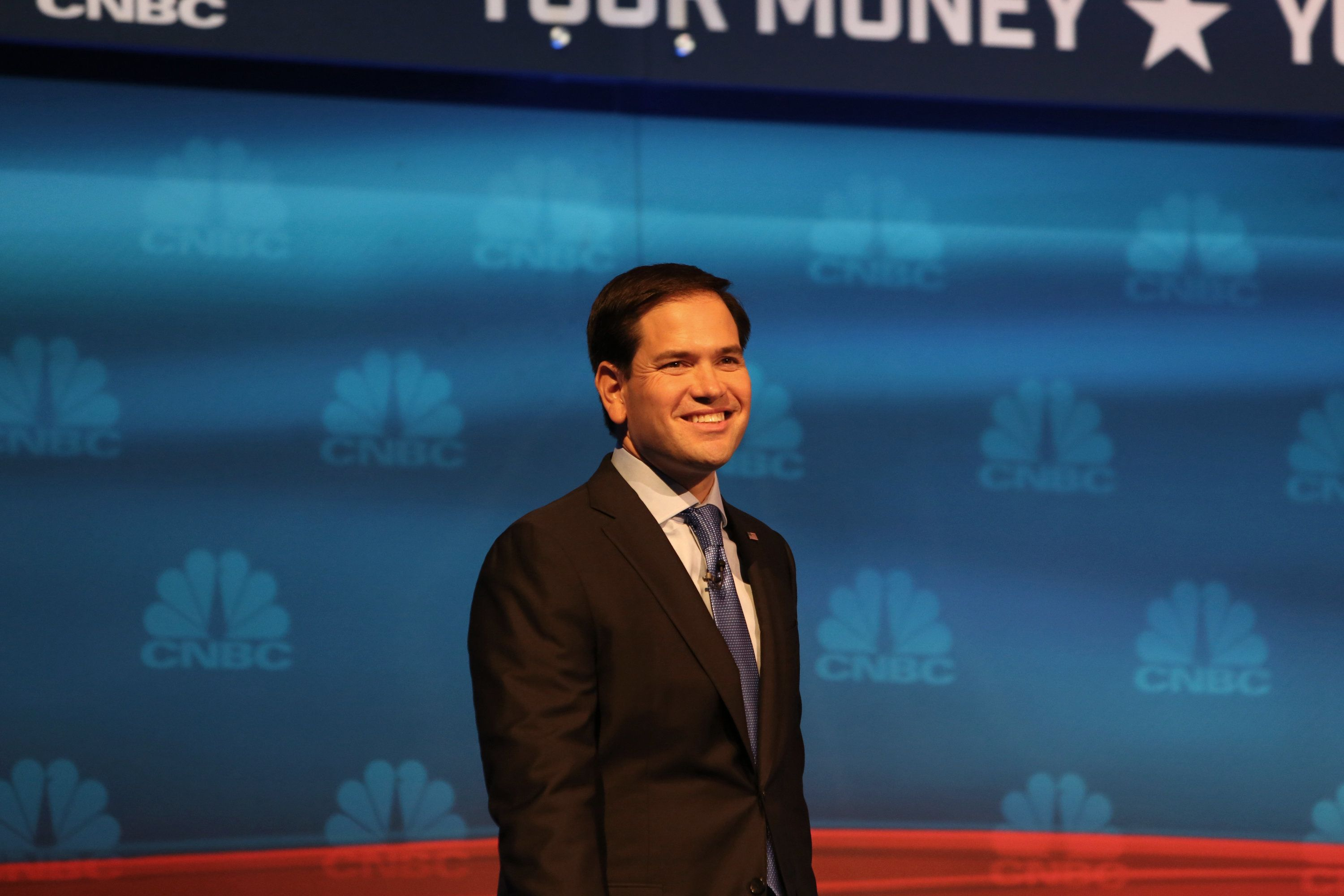 CNBC EVENTS -- The Republican Presidential Debate: Your Money, Your Vote -- Pictured: Marco Rubio participate in CNBC's 'Your Money, Your Vote: The Republican Presidential Debate' live from the University of Colorado Boulder in Boulder, Colorado Wednesday, October 28th at 6PM ET / 8PM ET -- (Photo by: Jason Bahr/CNBC/NBCU Photo Bank via Getty Images)