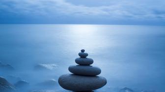 Pebble balancing, Long exposure, moonlit, Dosret