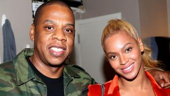 NEW YORK, NY - OCTOBER 21:  (EXCLUSIVE ACCESS)  Jay Z and Beyonce pose backstage at the hit musical 'Hamilton' on Broadway at The Richard Rogers Theater on October 21, 2015 in New York City.  (Photo by Bruce Glikas/FilmMagic)