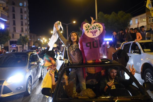 Supporters of Turkey's pro-Kurdish People's Democratic Party (HDP) celebrate in the southeastern city of Diyarbakir.