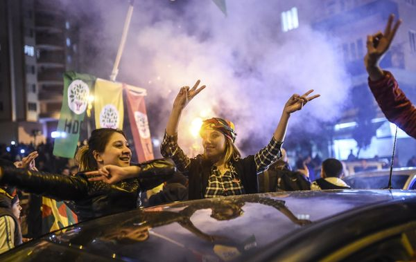 HDP supporters celebrate in Diyarbakir.