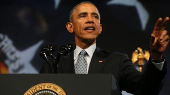 President Barack Obama speaks to the International Association of Chiefs of Police at the 122nd Annual IACP Conference and Exposition in Chicago on Tuesday, Oct. 27, 2015. The event is the largest gathering of law enforcement leaders in the world, with more that 14,000 public safety professionals and 700 exhibiting companies. (Antonio Perez/Chicago Tribune/TNS via Getty Images)