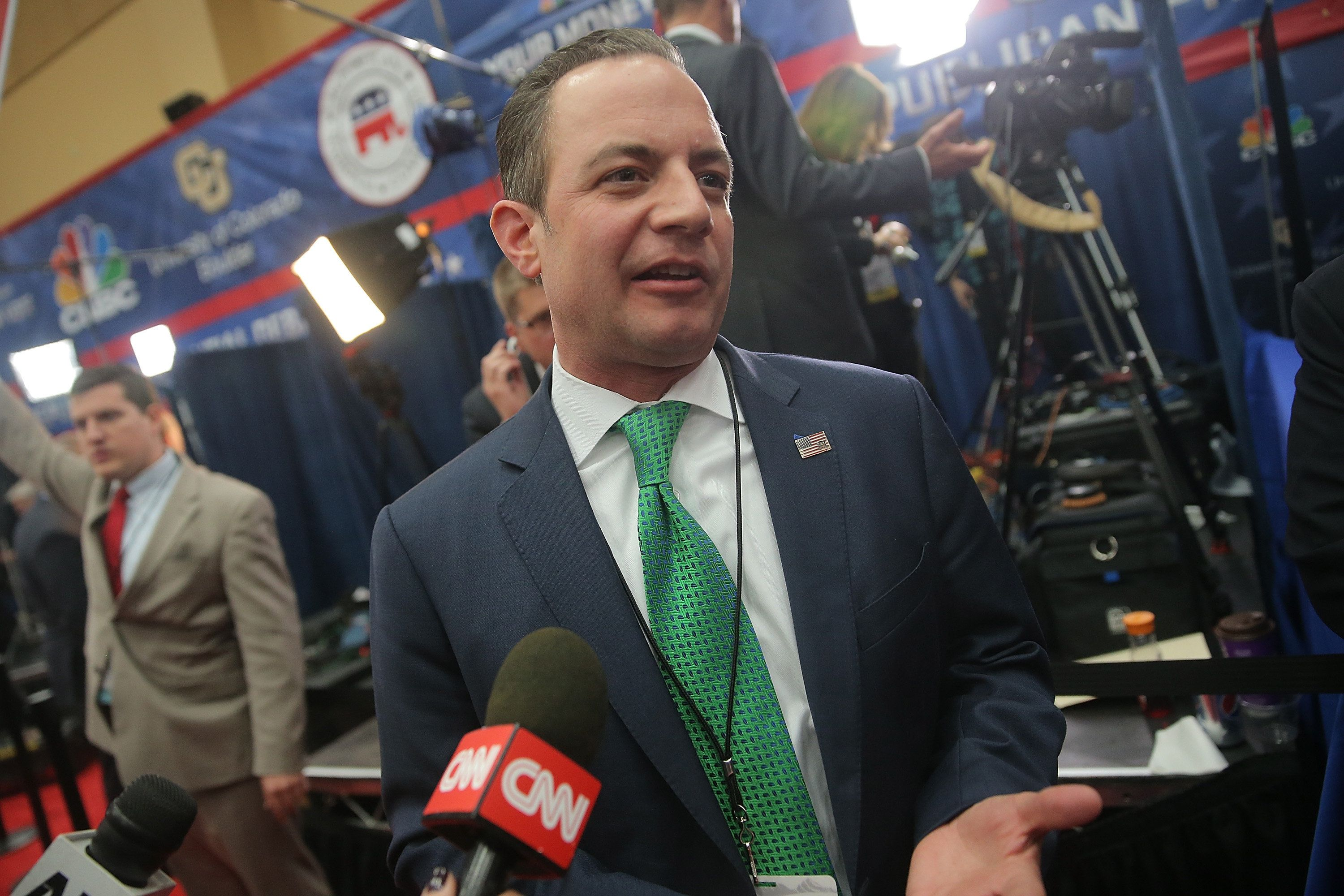 BOULDER, CO - OCTOBER 28:  Reince Priebus, chairman of the Republican National Committee, speaks to the media in the spin room after the CNBC Republican Presidential Debate at University of Colorado's Coors Events Center October 28, 2015 in Boulder, Colorado.  Fourteen Republican presidential candidates participated in the third set of Republican presidential debates.  (Photo by Andrew Burton/Getty Images)