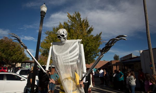 A giant skelaton puppet leads the processional parade during the Dia de los Muertos (Day of the Dead) celebration, November 1