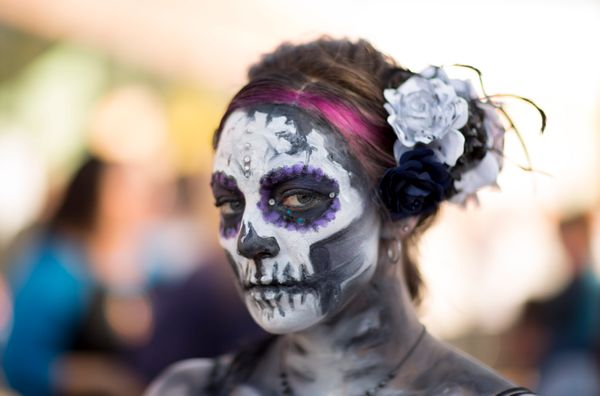 Tracy Stevens posed for photos during the Dia de los Muertos (Day of the Dead) celebration, November 1, 2015 in Oklahoma City