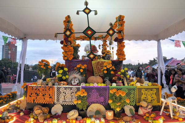 An altar of the Dead set at the Olimpic University stadium dedicated to Mexican Inpendence leader Jose Maria Morelos on Octob