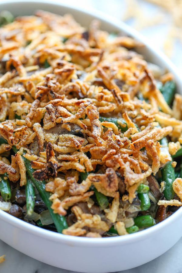 "<strong>Get the <a href=""http://damndelicious.net/2014/11/19/easy-green-bean-casserole/"">Easy Green Bean Casserole recipe</a>"