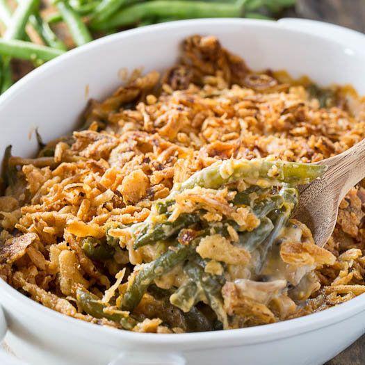 "<strong>Get the <a href=""http://spicysouthernkitchen.com/cheesy-green-bean-casserole/"">Cheesy Green Bean Casserole recipe</a>"