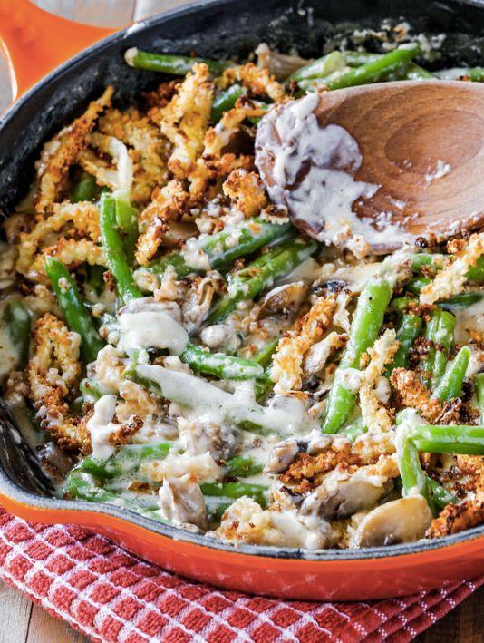 """<strong>Get the <a href=""""http://sallysbakingaddiction.com/2014/11/21/creamy-green-bean-casserole-from-scratch/"""">Skillet Green"""