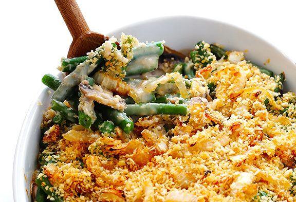 "<strong>Get the <a href=""http://www.gimmesomeoven.com/healthier-green-bean-casserole/"">Healthier Green Bean Casserole recipe</a>&nbsp;from Gimme Some Oven.</strong>"
