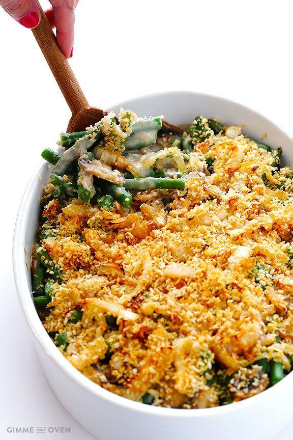 """<strong>Get the <a href=""""http://www.gimmesomeoven.com/healthier-green-bean-casserole/"""">Healthier Green Bean Casserole recipe<"""
