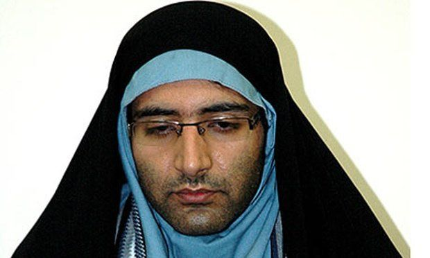 A state media image depits Majid Tavakoli, the student activist arrested in Iran, wearing a chador and headscarf.