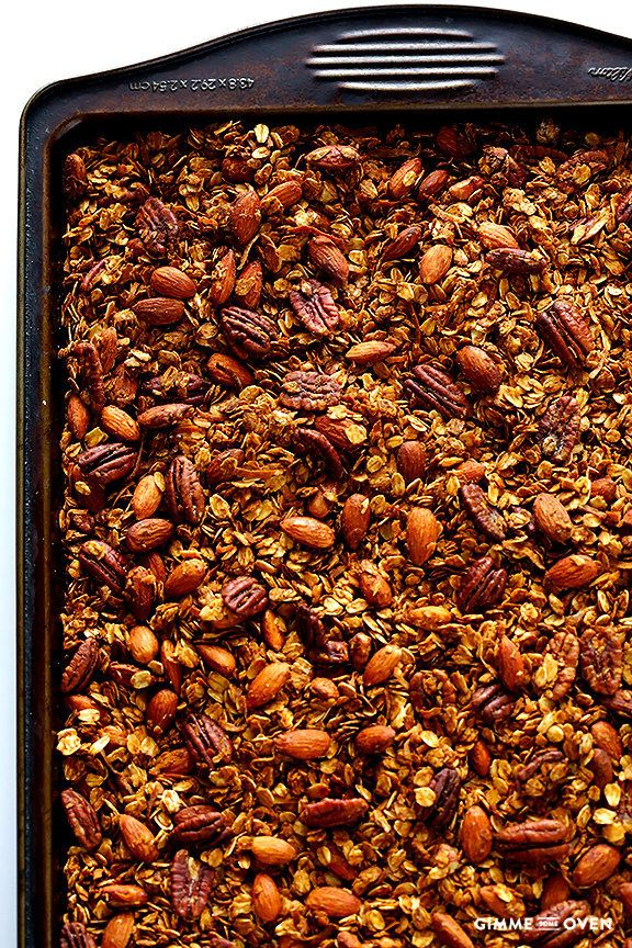 """<strong>Get the <a href=""""http://www.gimmesomeoven.com/chai-spiced-granola-recipe/"""" target=""""_blank"""">Chai-Spiced Granola recipe"""