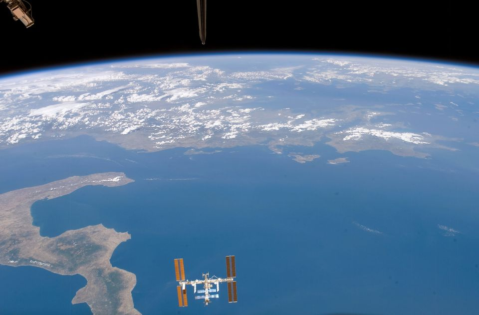 International Space Station as seen over Earth in August 2007.