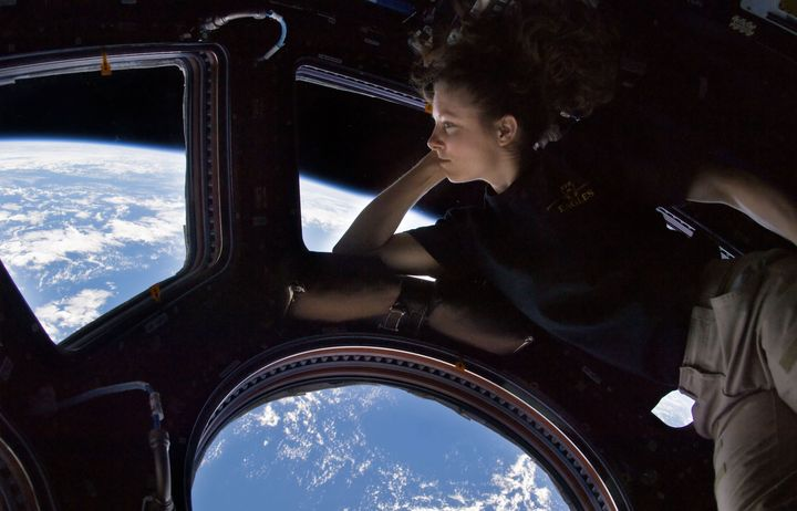 NASA astronaut Tracy Caldwell Dyson, Expedition 24 flight engineer, looks through a window in the Cupola of the International