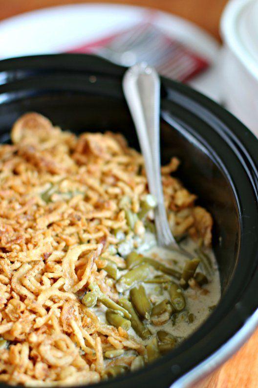 "<strong>Get the <a href=""http://www.themagicalslowcooker.com/2013/12/02/slow-cooker-green-bean-casserole/"">Slow Cooker Green"