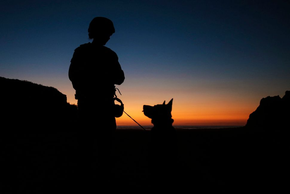 Cpl. Suzette Clemans, a military working dog handler with 1st Law Enforcement Battalion, I Marine Expeditionary Force, and De