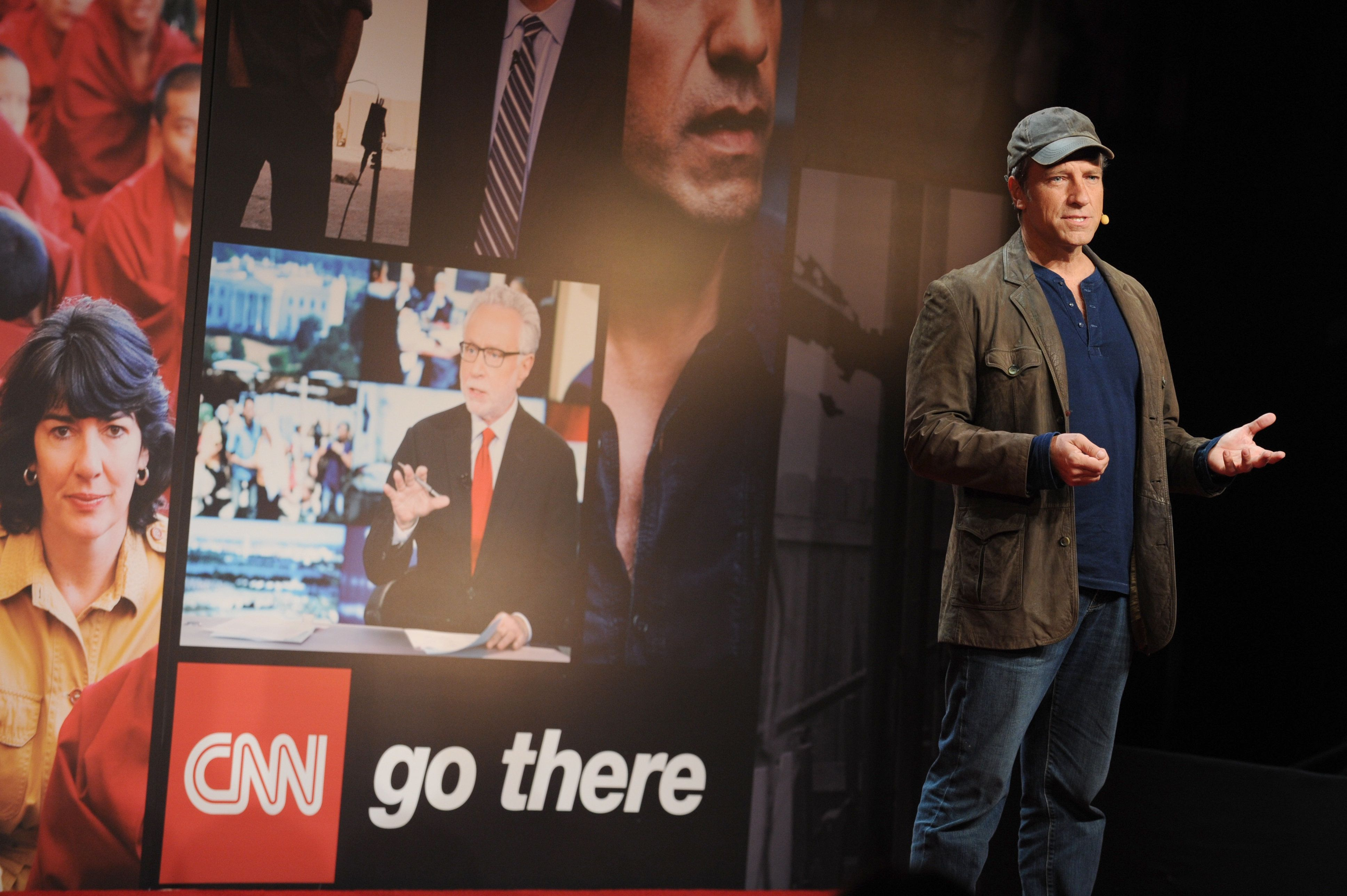 NEW YORK, NY - APRIL 10:  Mike Rowe speaks onstage at the CNN Upfront 2014 at Skylight Modern on April 10, 2014 in New York City.  24679_002_0163.JPG  (Photo by Bryan Bedder/WireImage for Turner Networks)