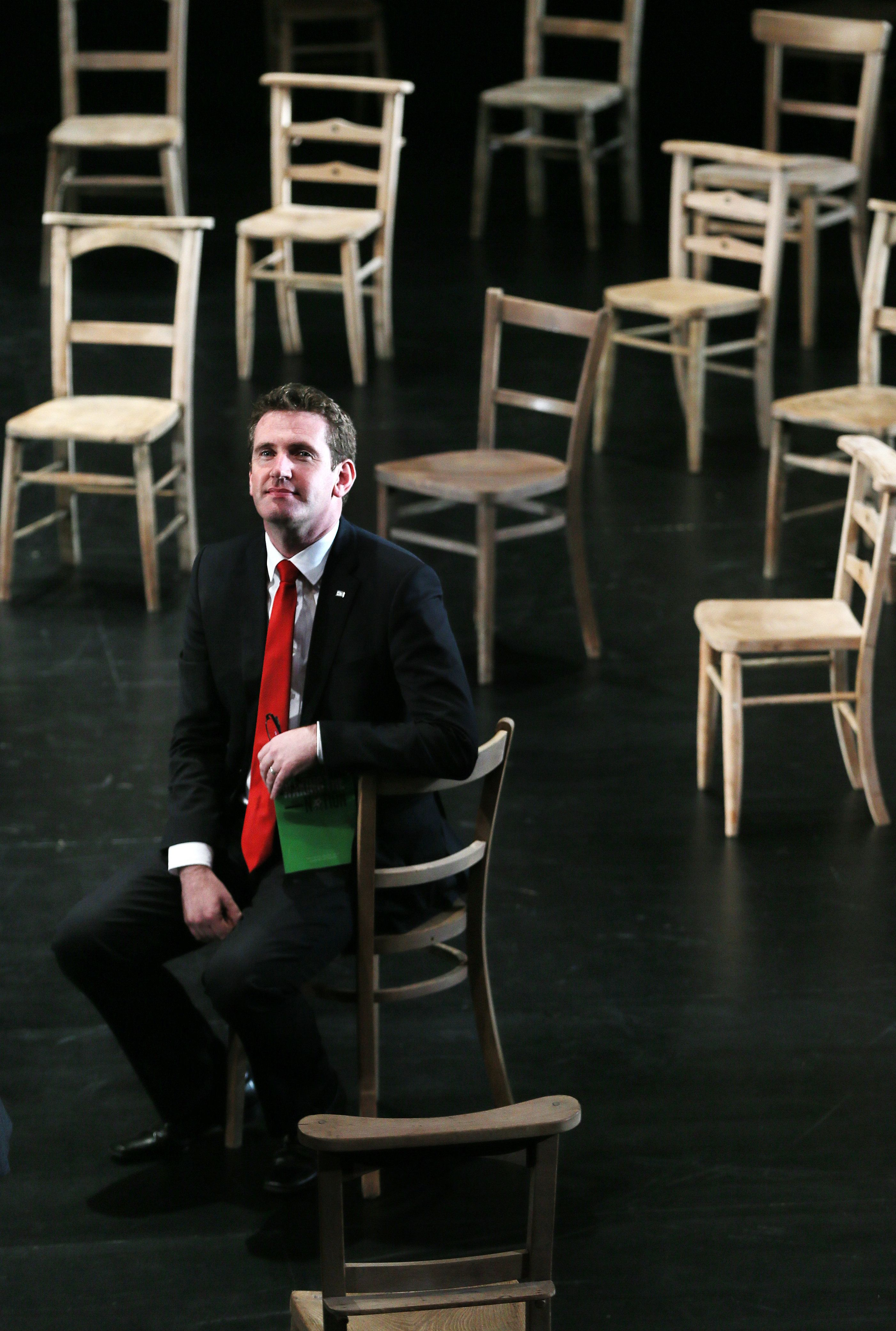 Minister of State for the Arts Aodhan O Riordain sits on the set of Oedipus during a photocall at the launch of Dublin's Abbey Theatre's 2016 programme of events.