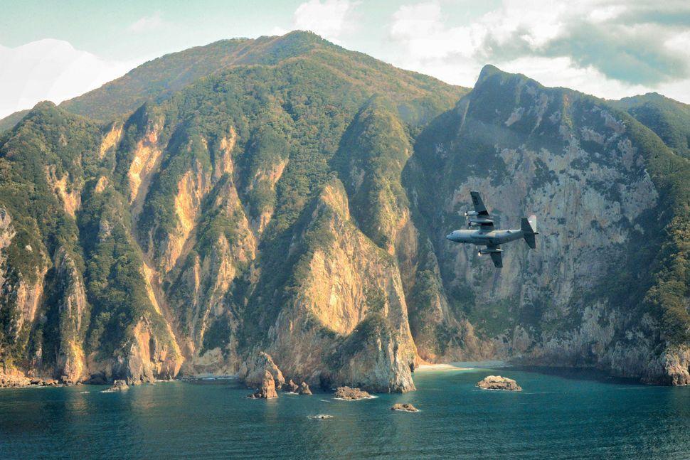 A C-130 Hercules flies over Izu Peninsula, Japan, Oct. 14, 2015.