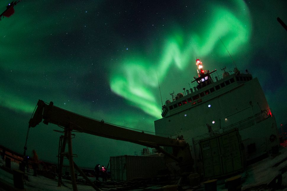Aurora borealis is observed from Coast Guard Cutter Healy Oct. 4, 2015, while conducting science operations in the southern A