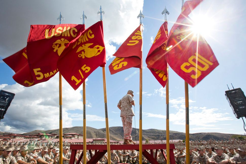 Commandant of the Marine Corps, Gen. Robert B. Neller, speaks to Marines, Sailors and civilians at the San Mateo Parade Deck,